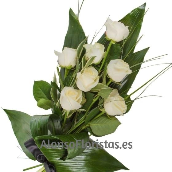 ramo funerario 7 rosas blancas